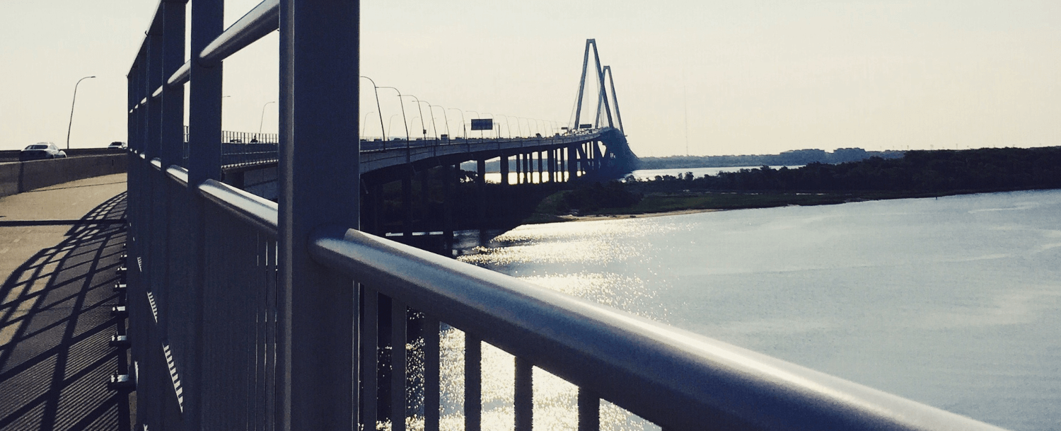 Joggers on ravenel bridge