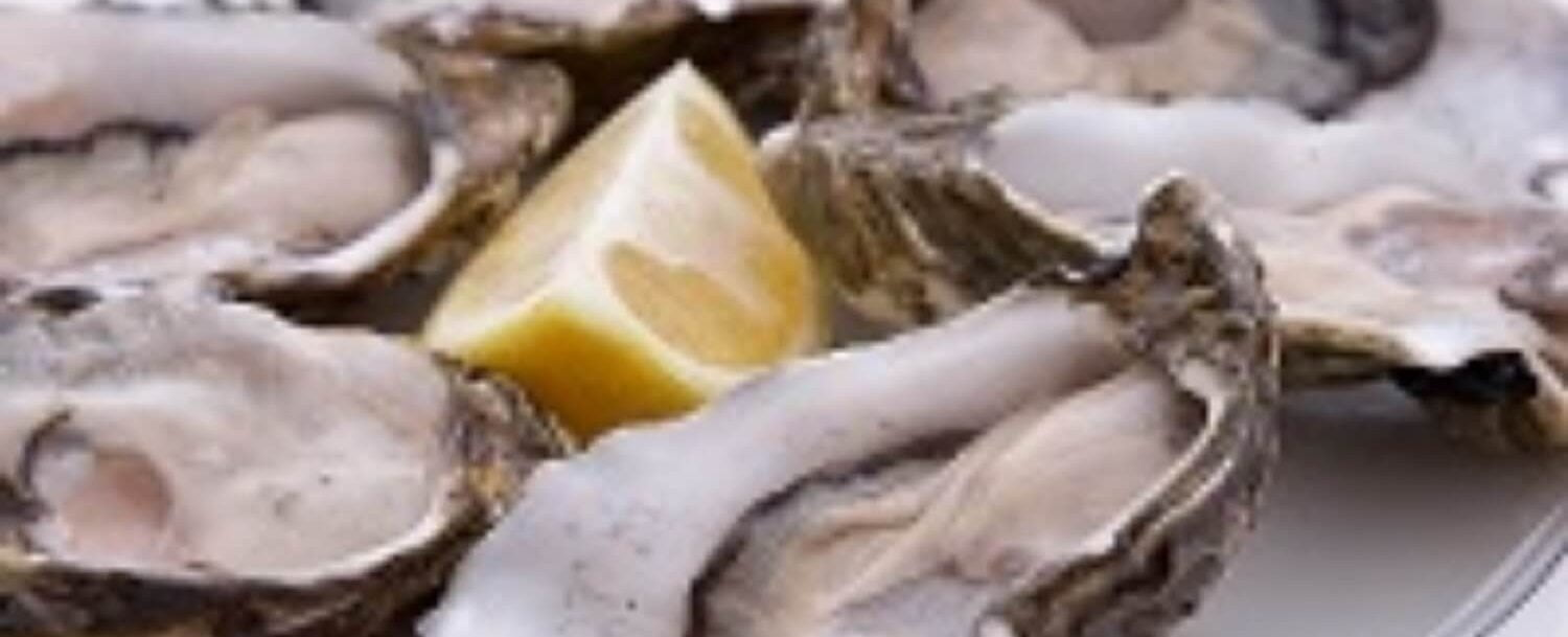 Oysters on plate with lemon