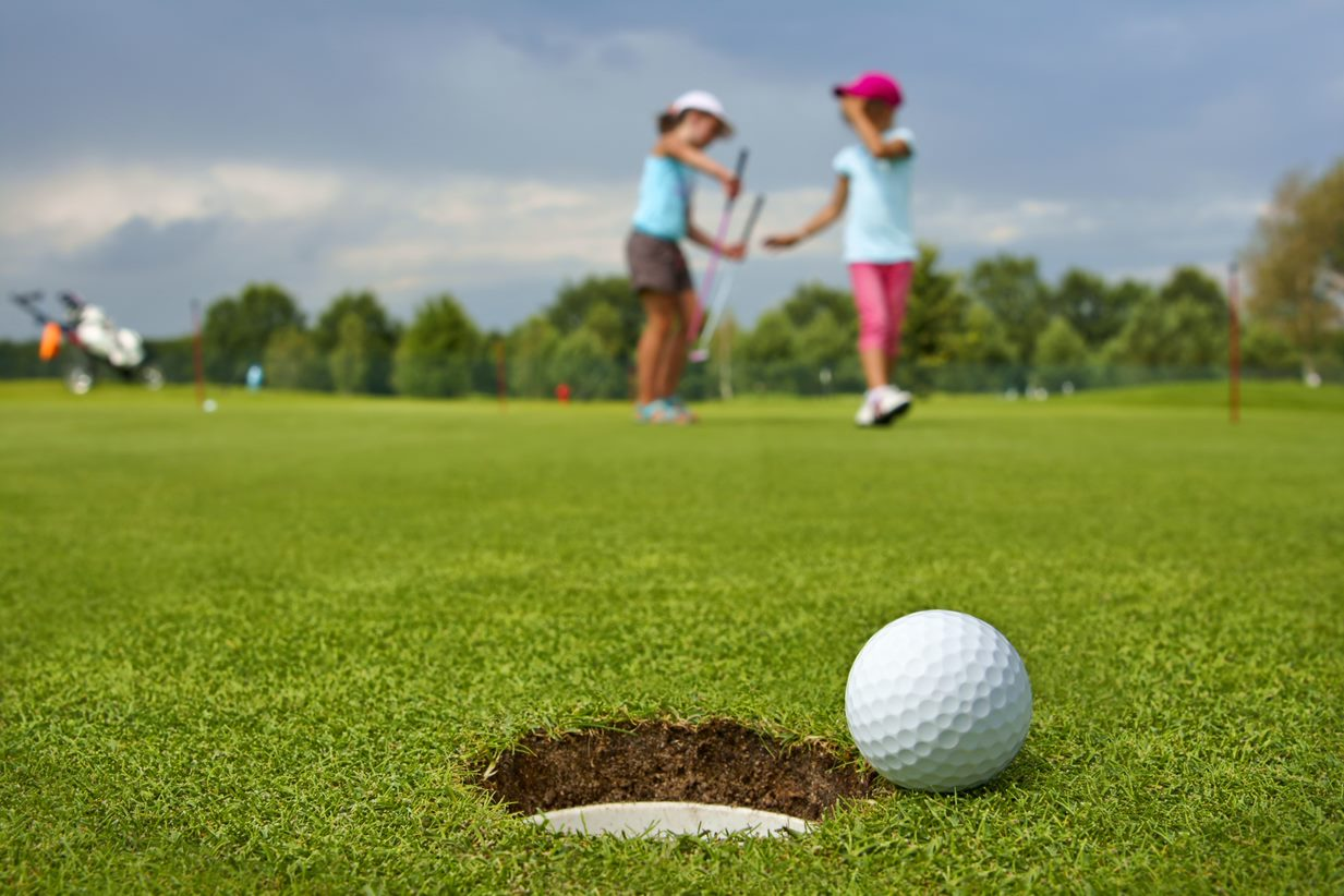kids on golf course