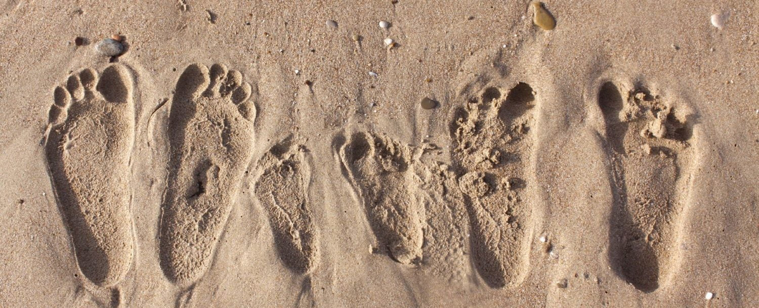 footprints in the sand from a charleston, sc, family vacation.