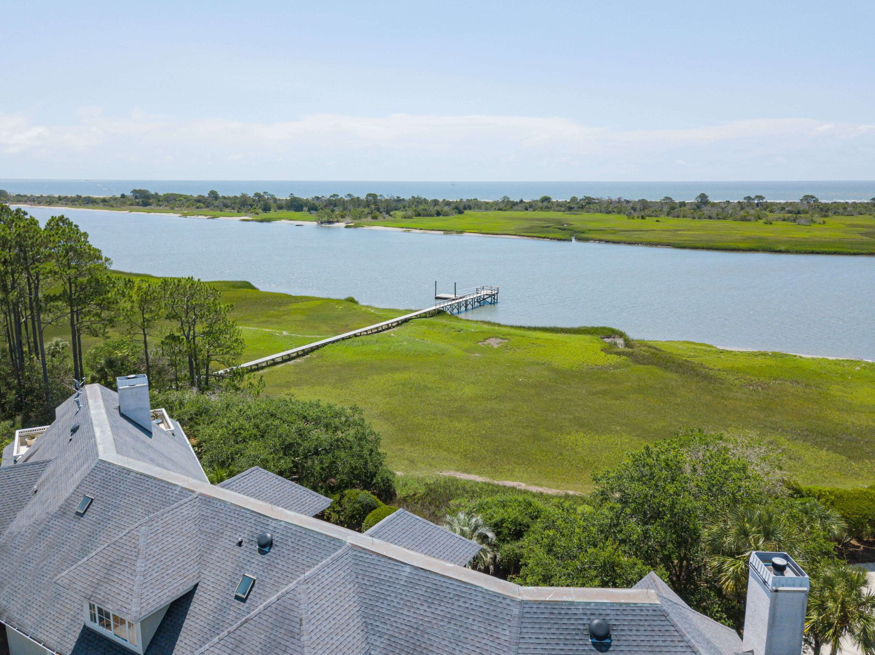A private boating deck at 3147 Marshgate Drive on Seabrook Island.