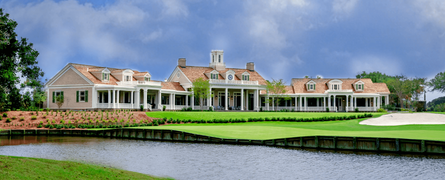 Exterior view of the new Cougar Point Clubhouse on Kiawah Island.